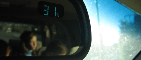de thermometer in de achteruitkijkspiegel, buitentemperatuur