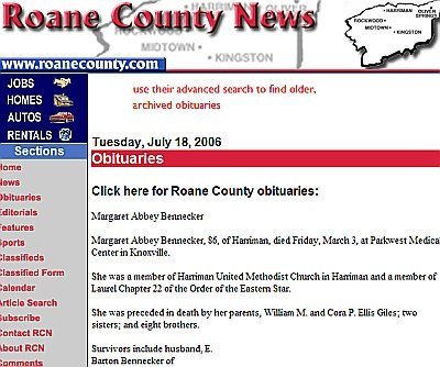 roane county tennessee obituary page