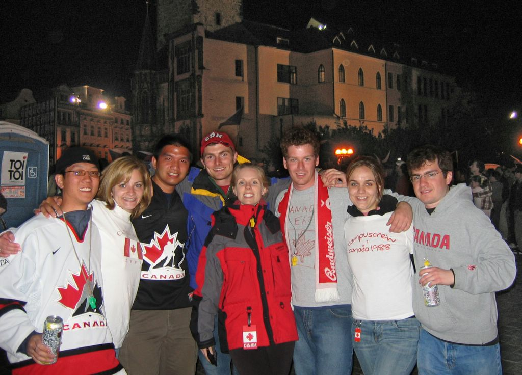 Canadians watching hockey in Prague