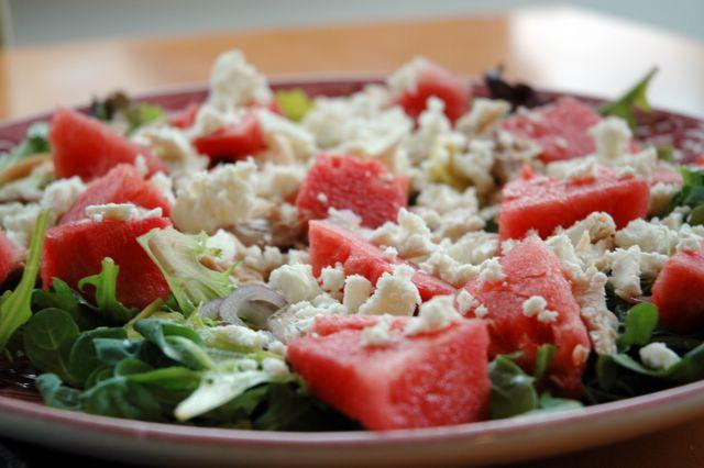 sallad med vattenmelon