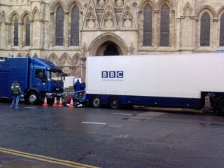 Outside BBC Broadcast Unit at York Minster