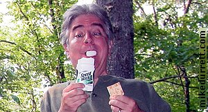 Mike enjoys his favorite cheese, Mennen Speed Stick, and crackers.