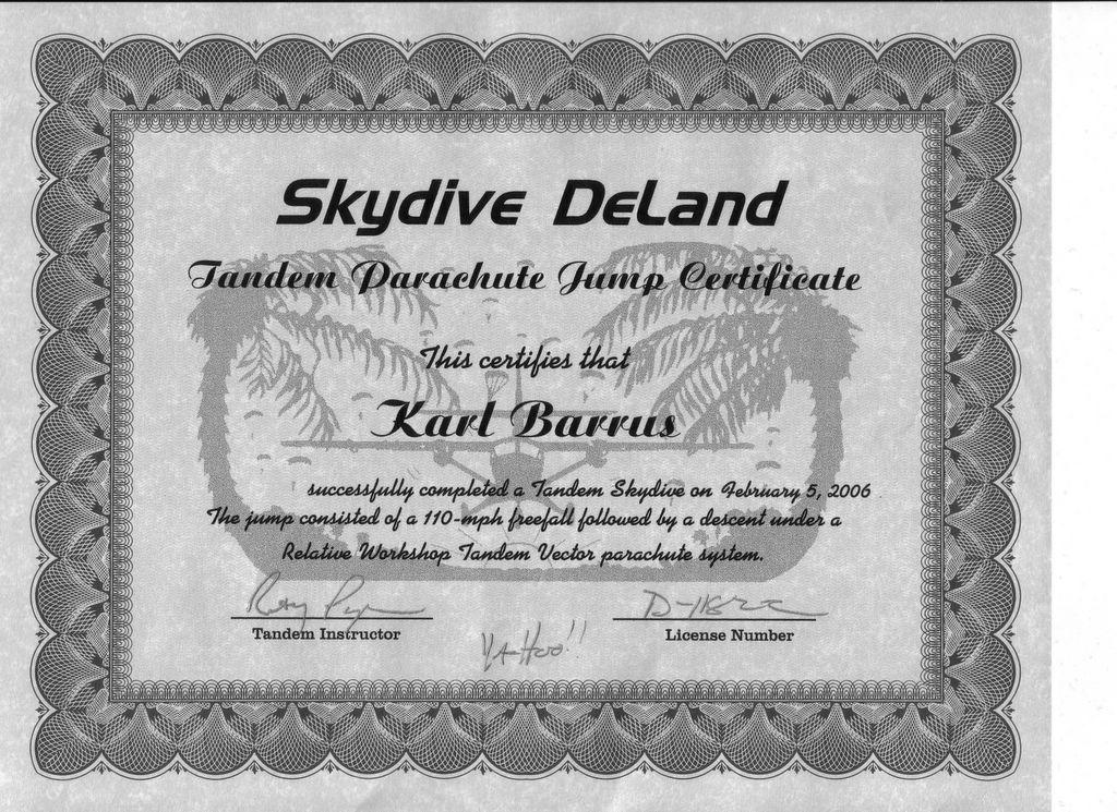 Karls Deck Tandem Jump At Skydive Deland