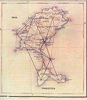 el Castellá, vértice de segundo orden gódesico, en el mapa de C. Ibáñez de Ibero (1869)