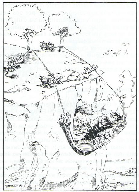 dibujo de Vicent Roig-Francolí 'Franky' (publicado en la 'Rondaia de sa Història d'Eivissa' de Mariano Planells, 1994)