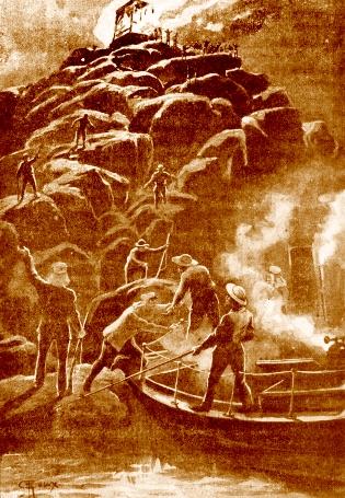 vignette par Férat, Jules Verne, 'Aventures de trois russses et de trois anglais dans l'Afrique Australe'