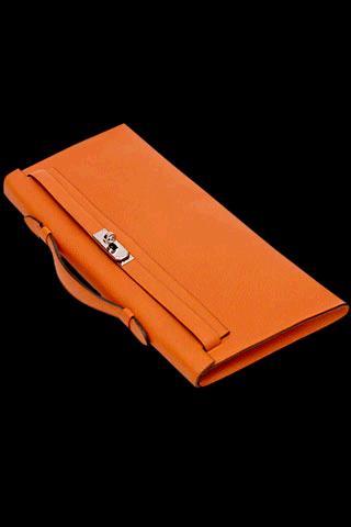 orange hermes kelly clutch