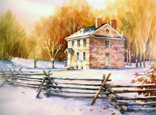 Top 100 Arts for the Parks, Watercolor Painting of Washington's Headquarters in Valley Forge by Roland Lee