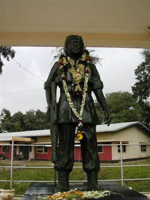First female martyr Malathi's statue on Kilinochchi junction. She got injured in direct fighting with the Indian Peace Keeping Force, lost her leg - swallowed cynade capsule and sacrificed her life in Kopay, on 10th of October 1987 at the age of twenty. Since then, this day is celebrated in LTTE controlled areas as Tamil Eelam Womens' day.