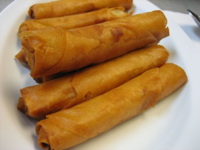 We started with Lumpia Shanghai, which were egg rolls, pure and simple ...