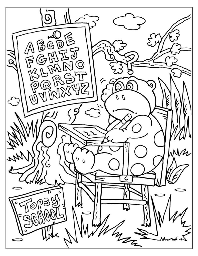 Hidden pictures publishing back to school for dotty in for Back to school coloring pages printable