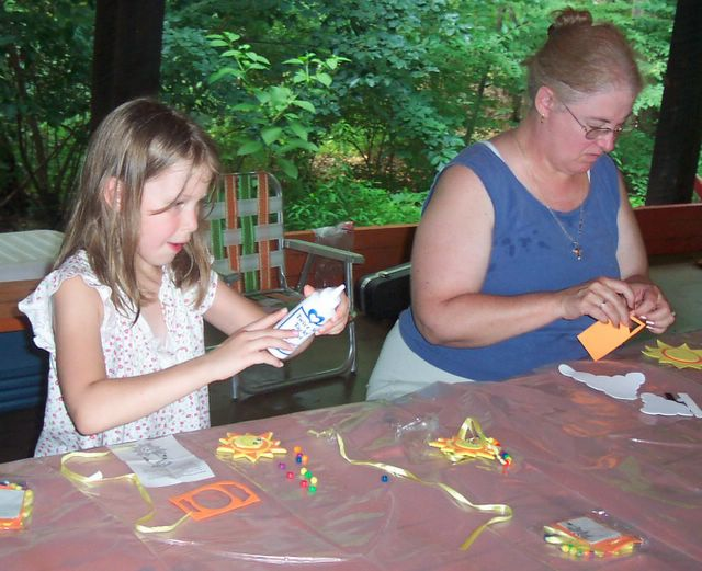 Miss Pam & Emily doing Crafts