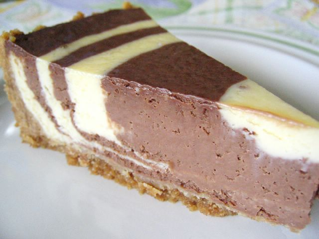 A slice of bulleye's cheesecake