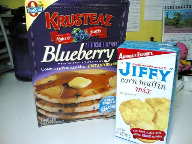 Krusteaz Blueberry Pancake Mix and Jiffy Corn Muffin Mix
