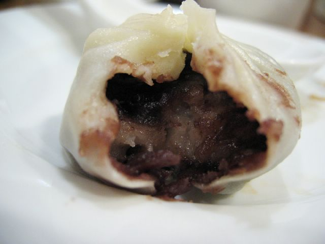 cross section of red bean dumpling