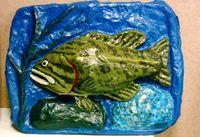 papier mache fish sculpture, by Eric Keast; Broken vulture Art.