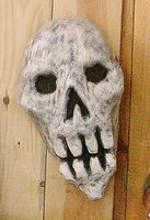 Papier mache skull mask, by Eric Keast; Broken Vulture Art.