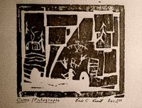 A woodcut print made by Eric Keast, while at the West Bank School of Art, Minneapolis.