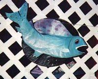 Papier mache fish clock, by Eric Keast; Broken Vulture Art.