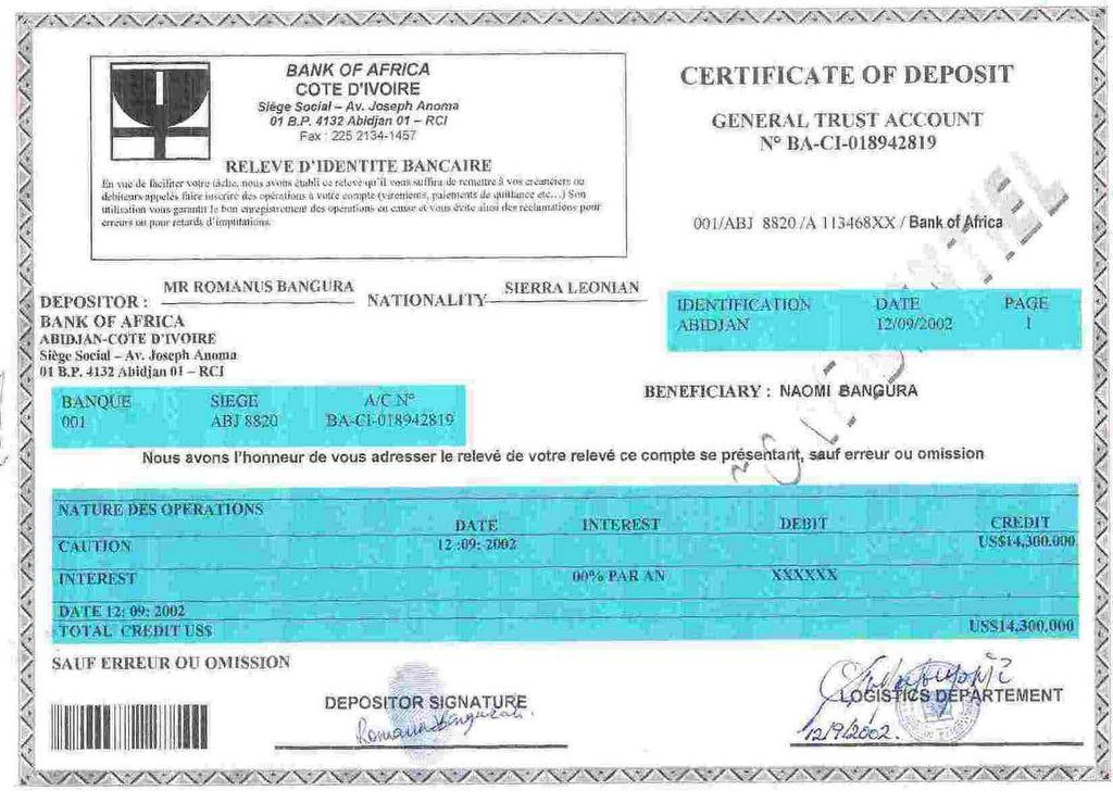 419 Scam Naomi Banguras Certificate Of Deposit African Bullets