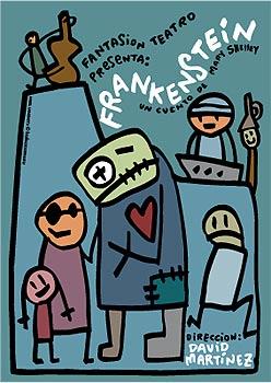 cartel de obra de teatro de frankenstein dibujada por kukusumusu