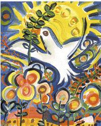cuadro paloma con ramita de olivo en el pico