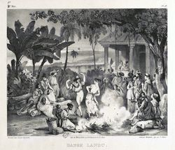 Danse landu [Landu dance], from Voyage pittoresque dans le Brésil [A picturesque trip to Brazil], Johann Mortz Rugendas, 1835. National Library of Brazil. Iconography Division.