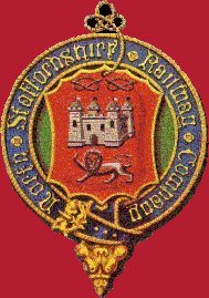 - North Staffordshire Railway coat of arms. Notice Stafford castle and the knot. The shield is that of Stoke.