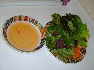 This is the lettuce dish and 'nuoc mam' sauce.