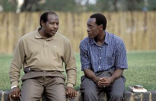 Paul Rusesabagina & Don Cheadle during the making of Hotel Rwanda