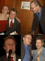 Tina, Daniel, Thomas. Daniel läser. Thomas och Jonny