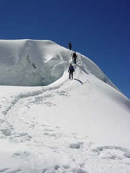 Descending from the summit, Nevado Ishinca, Peru, 2003