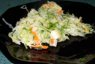 Cabbage saut&eacute;ed with leek, freshened with dill and lemon juice<br />