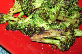Pan roasting browned the broccoli beautifully