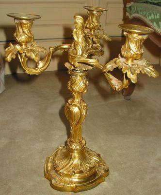 candélabres bronze doré Louis XV