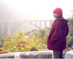 Sudeshna at the Sepok Bridge