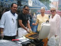 Mayor Bracknell with the staff of Mawar Restaurant stall