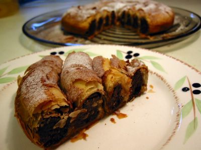 Chocolate Almond and Date Filo Coil