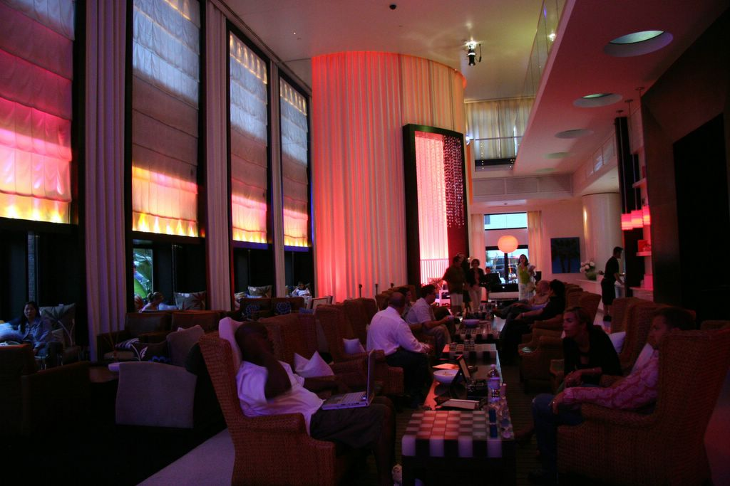 photograph picture of w hotel san diego lobby and living room bar filed under review