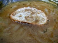 photograph picture of house made french onion soup  from Tabla (Tava) Larkspur Marin