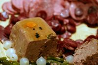 photograph / picture the wedding charcuterie plate with pate and saucisson created by Polly Legendre from lagourmande.com