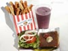 photograph picture of vegan main meal entree Burger, fries and Shake recipes for IMBB#19