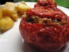 photograph picture of vegan main meal entree Pomodori ripieni di riso con patate Tomatoes stuffed with rice and Potatoes recipes for IMBB#19