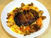 photograph picture of vegan main meal entree Butternut Squash Risotto with Broiled Portobello and Saute of Hon Shimeji Mushrooms recipes for IMBB#19