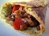 photograph picture of vegan main meal entree Socca Crèpes filled with Ratatouille recipes for IMBB#19