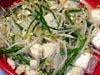 photograph picture of vegan main meal entree bean sprouts, bean curd and chive flowers stir fry recipes for IMBB#19