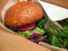 photograph picture of vegan main meal entree falafel burger with vegan cheddar and eggless mayo  recipes for IMBB#19