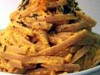 photograph picture of vegan main meal entree Carrot Cashew-Cream Pasta recipes for IMBB#19
