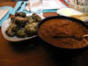 photograph picture of vegan main meal entree oven-baked falafel with roasted root vegetables, almond salsa and tomato sauce recipes for IMBB#19