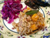 photograph picture of vegan main meal entree Pumpkin Risotto with Sizzled Sage recipes for IMBB#19